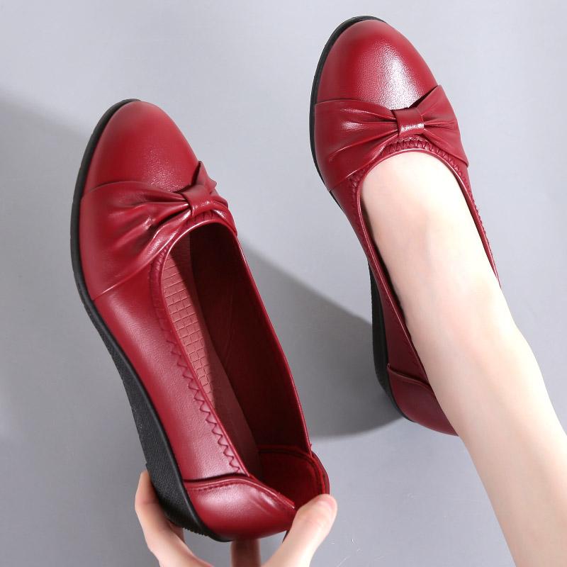 艾尚康夏季透气浅口坡跟软底防滑妈妈鞋单鞋休闲皮鞋女鞋懒人鞋子