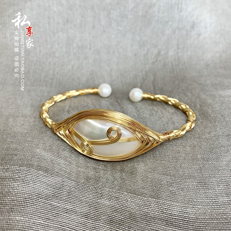 Natural marbei Pearl 14K Gold injection pure artificial winding, strong color retention and anti allergy, retro woven bracelet Jewelry