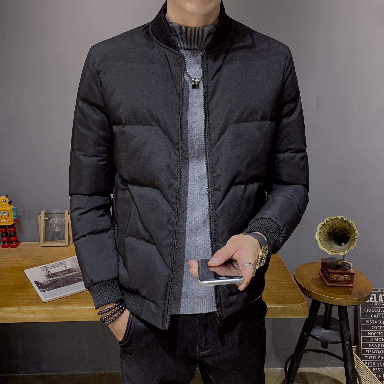 2019秋冬季新款男性纯黑色棉衣修身棒球领羽绒棉服棉袄外套轻薄潮
