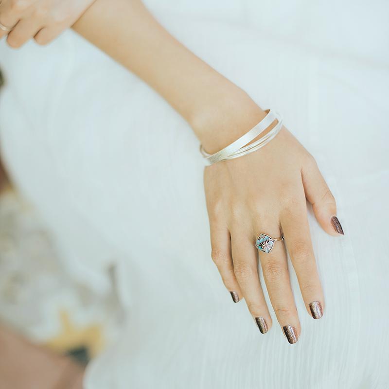 High grade XISU original bracelet for women 925 three ring, multi-layer, simple and versatile Sansheng Sanshi Silver