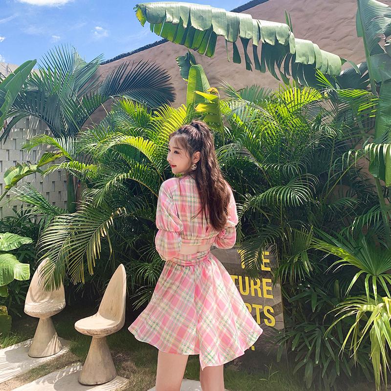10-13新券babyjojo甜美格子衬衫式连衣裙短裙