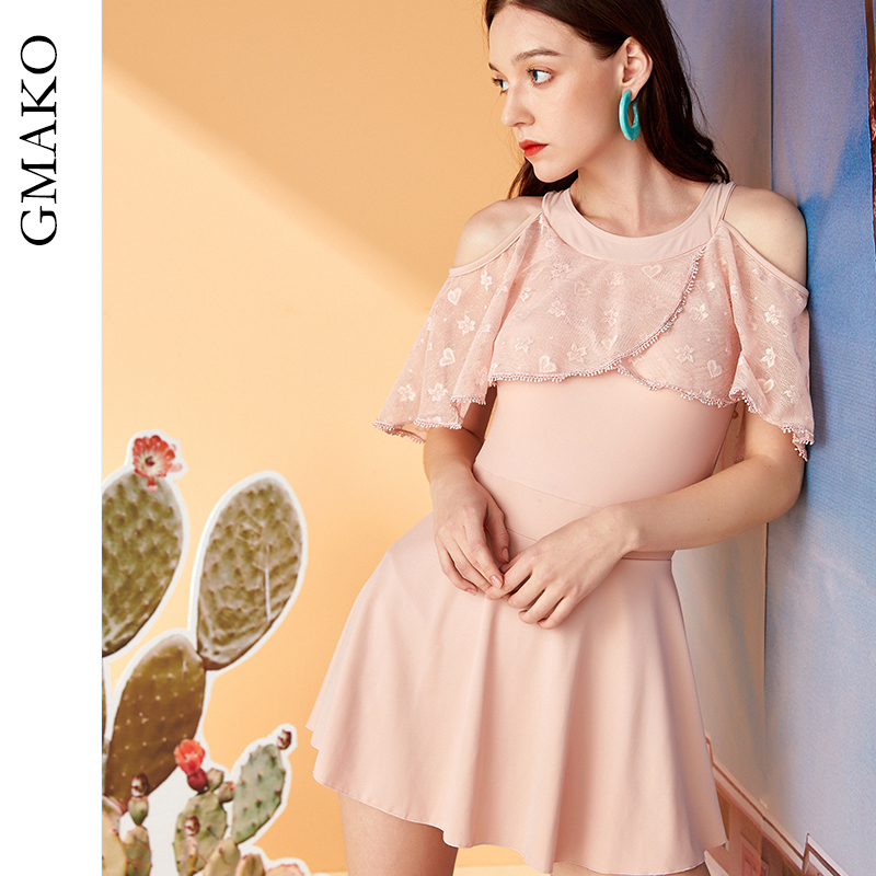 Swimsuit womens new style in 2020, covering belly and showing thin, conservative fairy one-piece skirt style hot spring bathing suit, European and American style