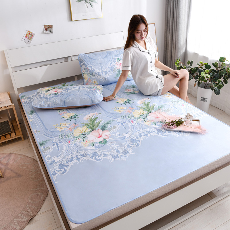 2020 new large print ice silk mat three piece set water wash air conditioning mat folding bedding