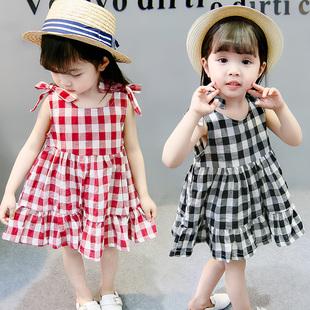 寶寶夏裝女裙子超洋氣女童公主裙小童兒童夏季女寶無袖格子連衣裙