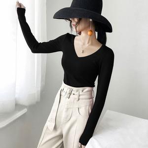 秋冬黑色t恤女v领长袖打底衫加绒修身内搭低领紧身上衣纯棉秋衣潮