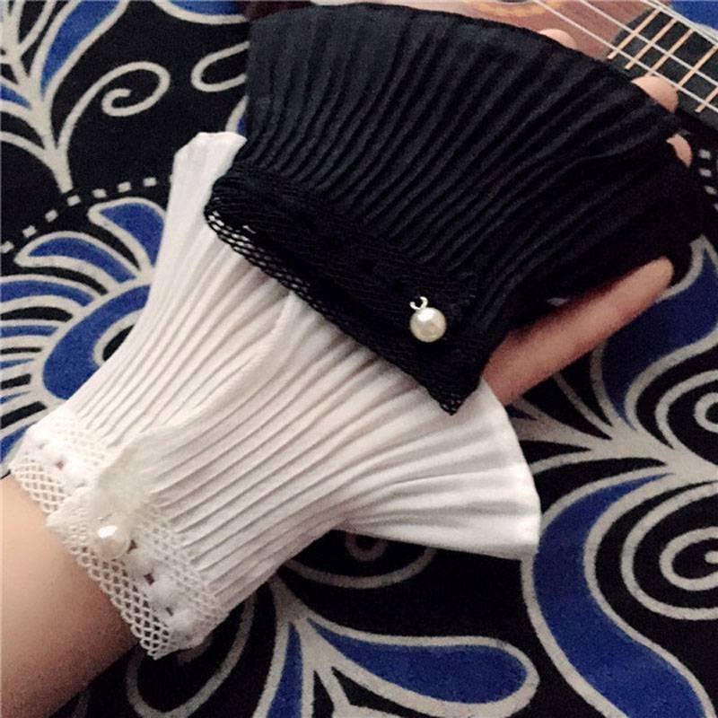 。毛衣袖子拼接 风琴褶袖口装饰假袖子短接袖假袖口蕾丝花边手套