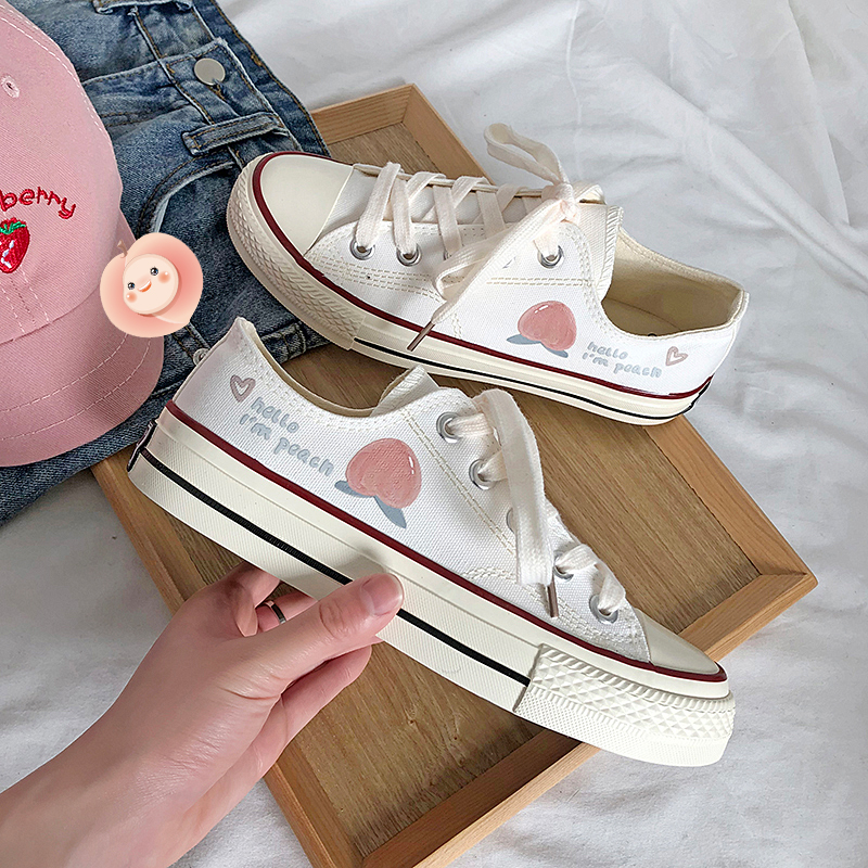 LH新品低帮帆布鞋女小清新印花桃子熟了夏季薄款小白鞋学院风百搭