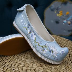 转朱阁原创汉服鞋子古风千层底古装绣花鞋内增高翘头弓鞋古代布鞋
