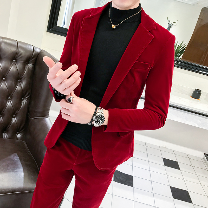 Autumn 2019 new net red tide mens Korean slim and handsome long sleeve single button suit with two pieces