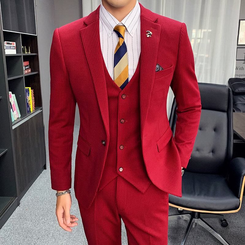 Autumn and winter New Stripe formal suit business professional three piece suit mens Korean one button suit coat