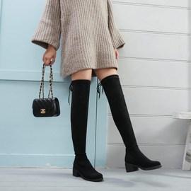 韩国腿靴子 胖mm显瘦粗腿围中筒粗跟冬季加肥胖短靴大筒高跟中筒