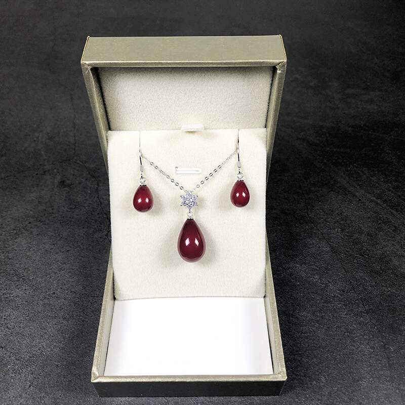 Silver Red Water Drop Pendant Necklace Earrings female temperament two piece suit Coral Bead life 4 years hair jewelry