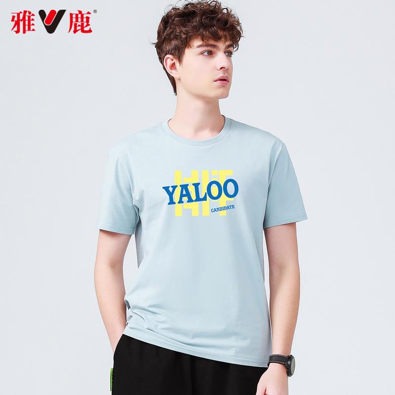 Yalu summer 2021 mens short sleeve T-shirt trend ins summer fashion brand top printed round neck half sleeve bottom shirt