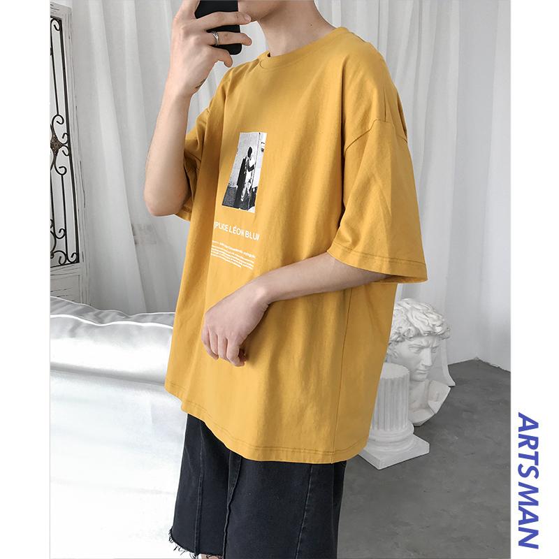 (用10元券)@港仔文艺男 夏季男生五分袖上衣潮牌潮流嘻哈衣服ins宽松短袖t恤