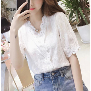 洋气短袖衫女夏2019新款很仙的上衣宽松显瘦设计感小众蕾衫