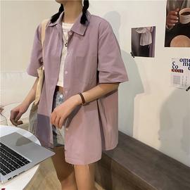 衬衫女紫色百搭外穿领带短袖薄款衬衣设计感小众小清新上衣2020夏