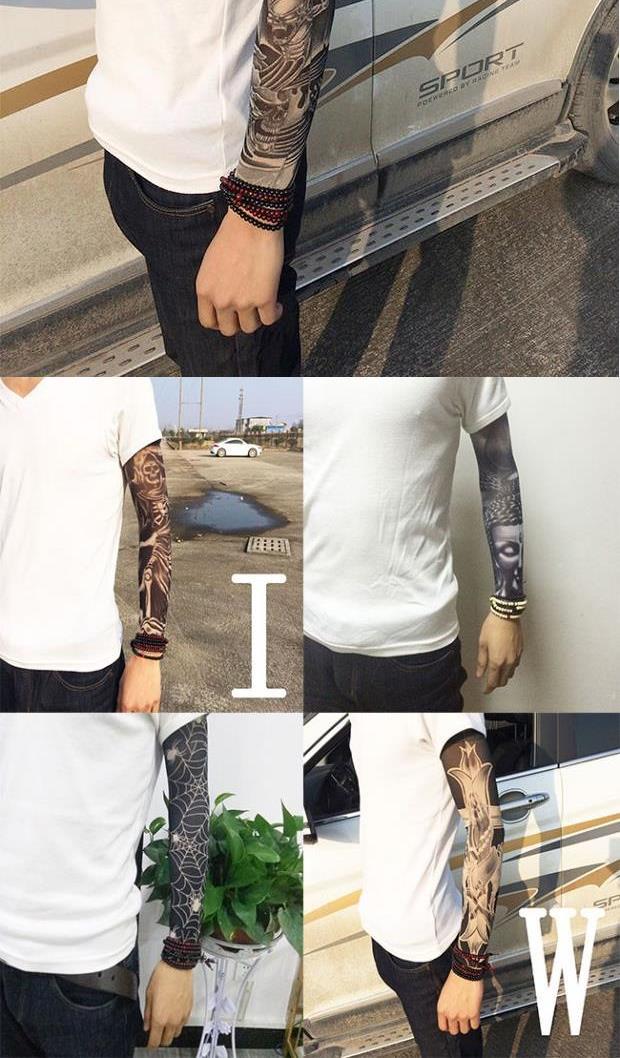男士袖套男纹身无缝防晒花臂刺青手袖护臂肉色冰袖手臂套袖女文身(非品牌)