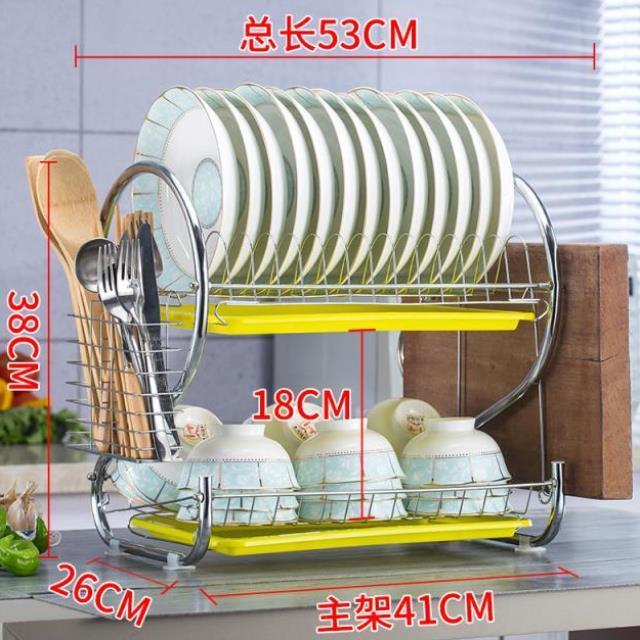 沥水架碗架2层多功能碗盘碟筷子收纳盒置物架厨房用品用具储物架