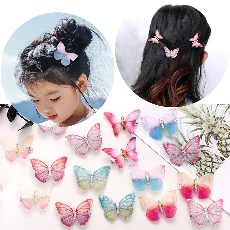 限100000张券两个装仿真薄纱小女孩儿童蝴蝶发夹