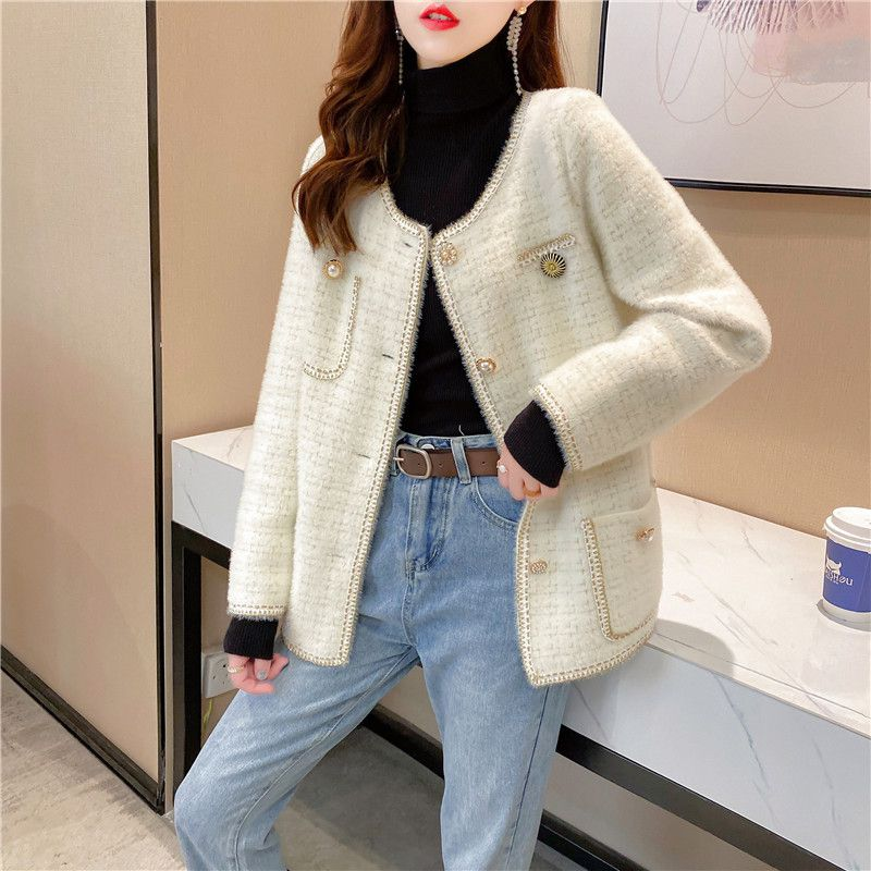 Autumn and winter 2020 New Ladies fashion mink like knitted jacket womens fashion metal button round neck knitted cardigan