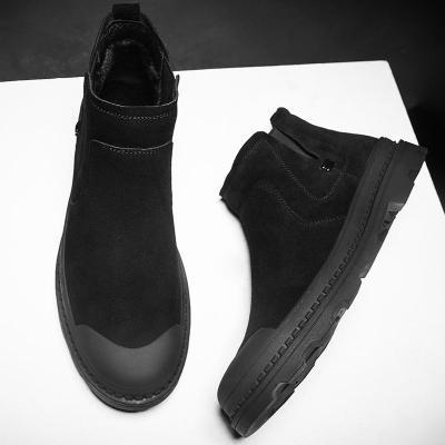 中帮马丁靴男潮百搭男士靴子黑色真皮男鞋秋季牛皮磨砂休闲鞋短靴