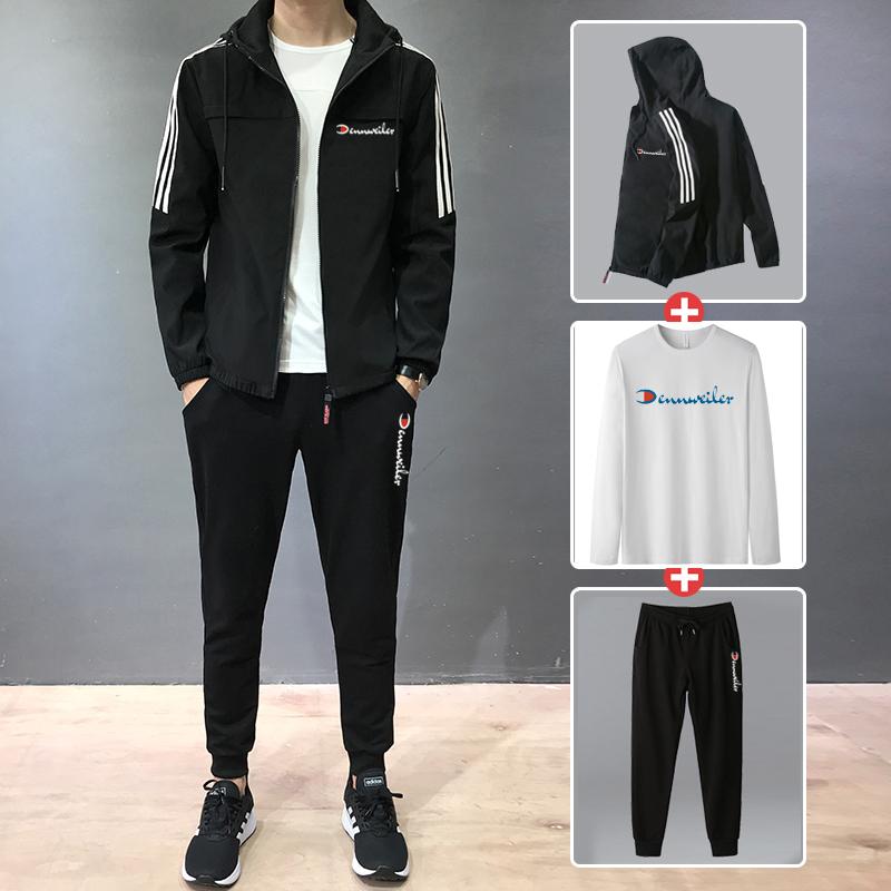 冠军犀牛运动套装春秋季2020新款韩版休闲运动服卫衣外套男三件套