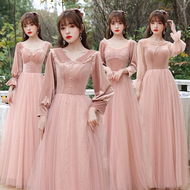 伴娘服粉色2020年新款秋冬丝绒姐妹团伴娘礼服裙女晚礼服冬季长款