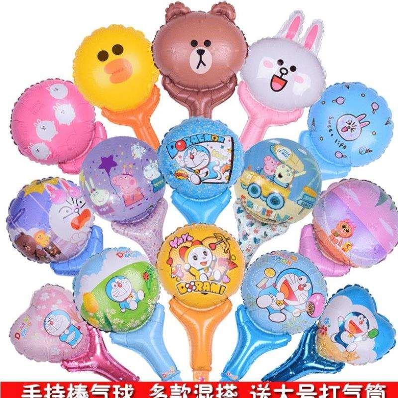 氢气飘空球充气卡通铝膜手持棒打击加油棒儿童节卡通玩具地推气球