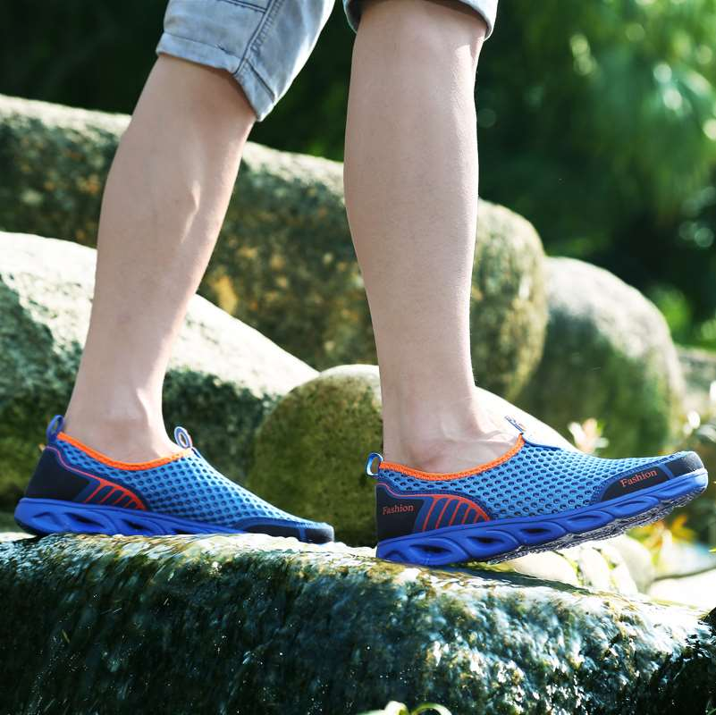 All net mens air mesh shoes summer travel water land quick wading anti slip water shoes light mesh mens shoes