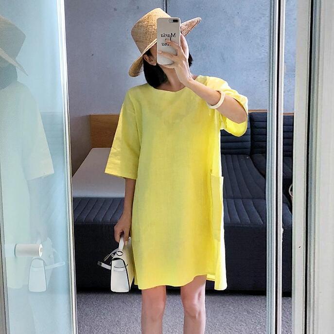 韩国东大门代购夏季中袖连衣裙 2018新款个性双口袋纯棉宽松裙子