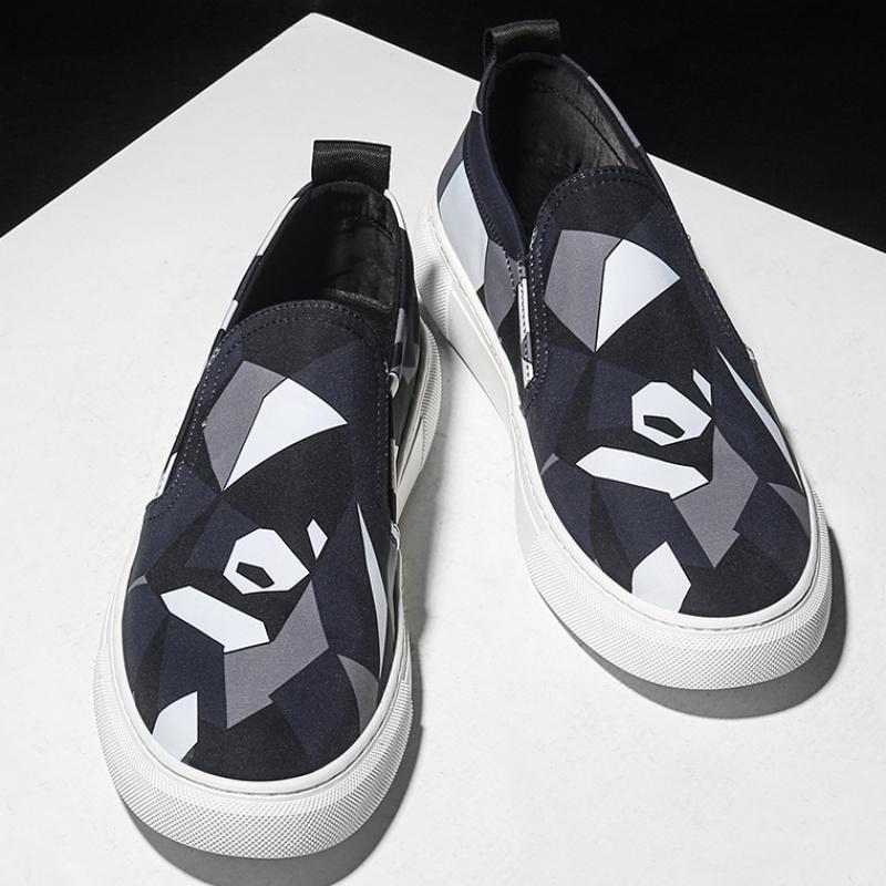 秋季男鞋帆布鞋一脚蹬懒人布鞋子2019潮流休闲鞋百搭乐福鞋男板鞋