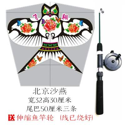 Chinese zither fishing rod small size with pole tail childrens wind belt fairy anti reverse plastic
