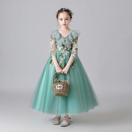 儿童公主裙钢琴演奏礼服洋气走秀花童主持人演出服女童晚礼服冬季