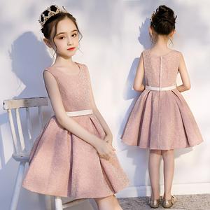 儿童公主裙粉色生日女洋气夏晚礼服