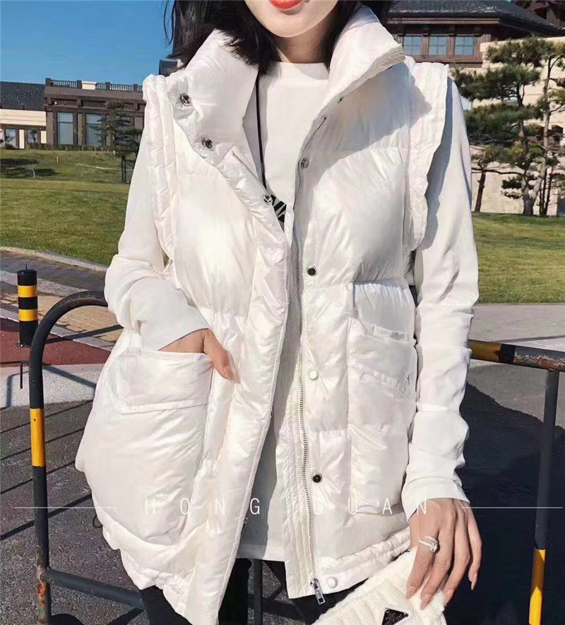 MUSHUL/Mushulian European station 2020 autumn and winter new loose big pocket stand collar sleeveless down vest women