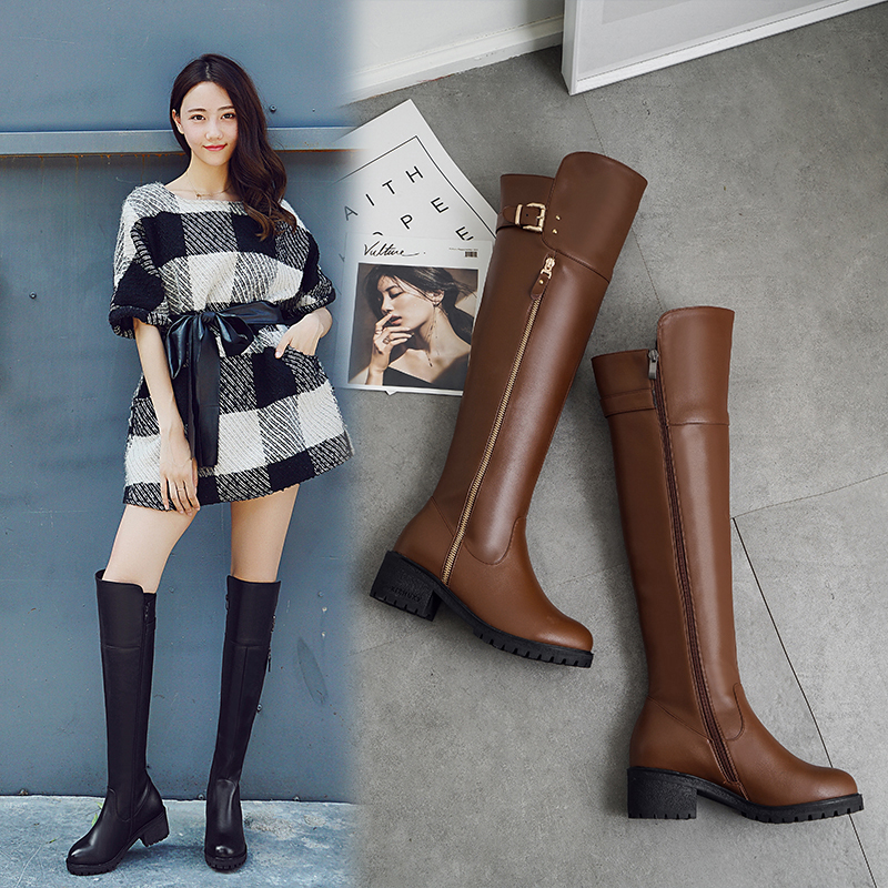 Leather boots womens 2019 winter thick heels medium heels high boots large womens cotton shoes leather boots Plush Knee Boots