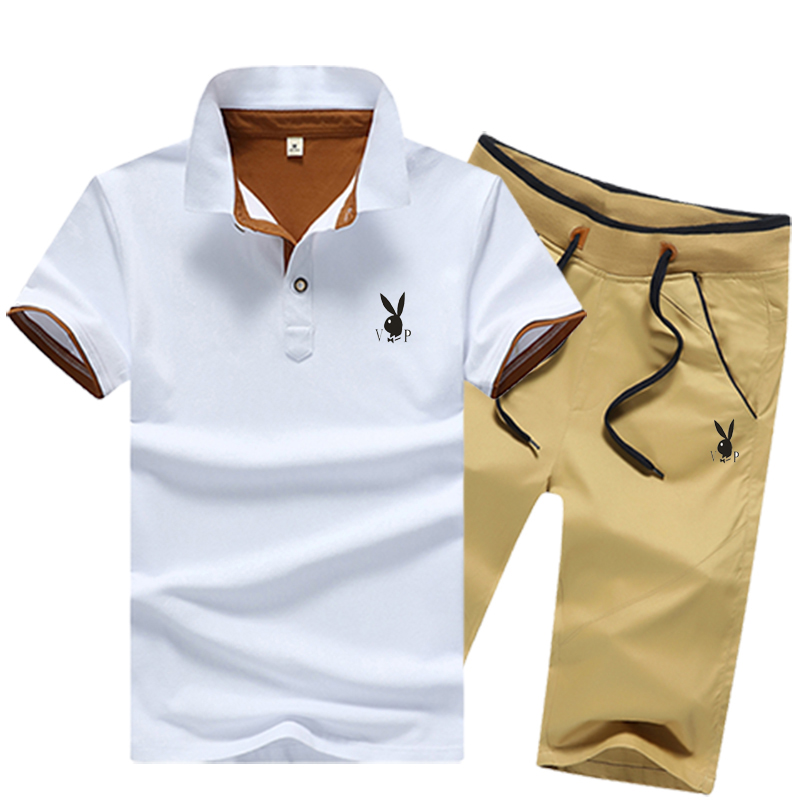Playboy Sport Short Sleeve White T-Shirt Polo casual suit mens pure cotton free matching Capris