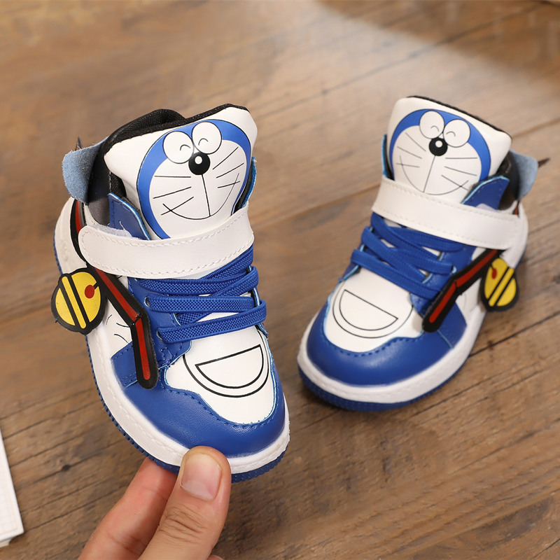 Boys autumn and winter new Korean childrens leather boots flat bottomed low top short boots girls Martin boots childrens casual shoes