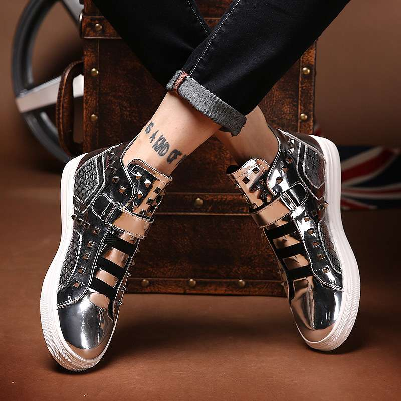 High fashion shoes bright Short Boots Mens shoes Silver High Waisted shoes rivet summer shoelace hairdresser mens shoes