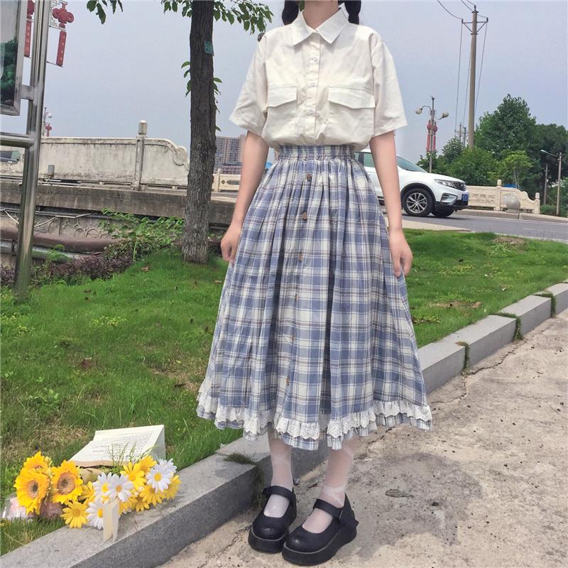 New summer style high waist Summer College skirt womens 2021 long skirt lattice loose and thin lace skirt