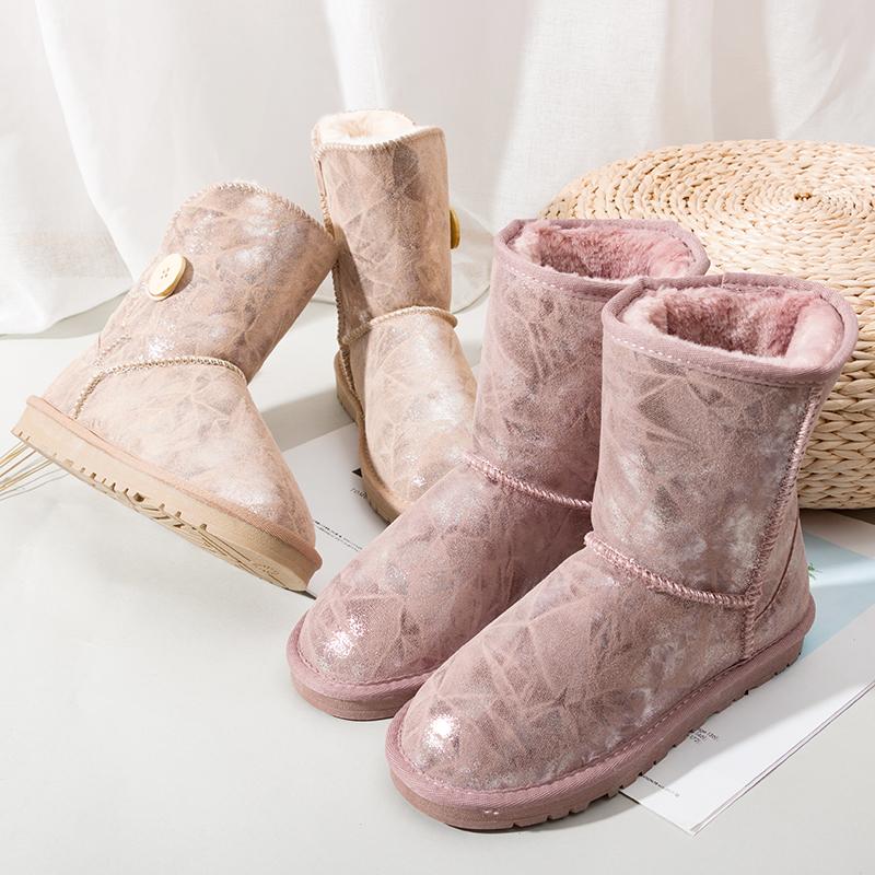 2019新款冬季雪地靴女中筒真皮韩版百搭学生靴子平底加绒加厚棉鞋