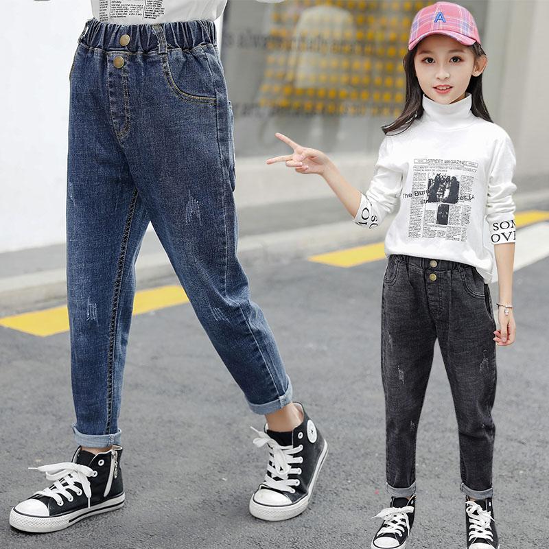 女童牛仔裤2020新款秋冬中大童宽松一体绒裤儿童洋气加绒加厚裤子