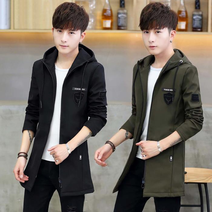 メンズカジュアルコート春季新商品の中に、長いスタイルの男性の韓国版の修身服とメンズファッションの帽子ジャケット