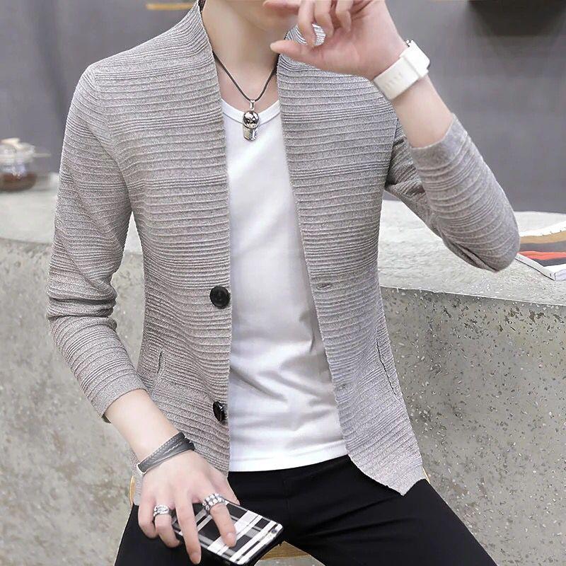 Korean slim knitted cardigan mens spring new mens fashion casual coat mens handsome versatile top fashion
