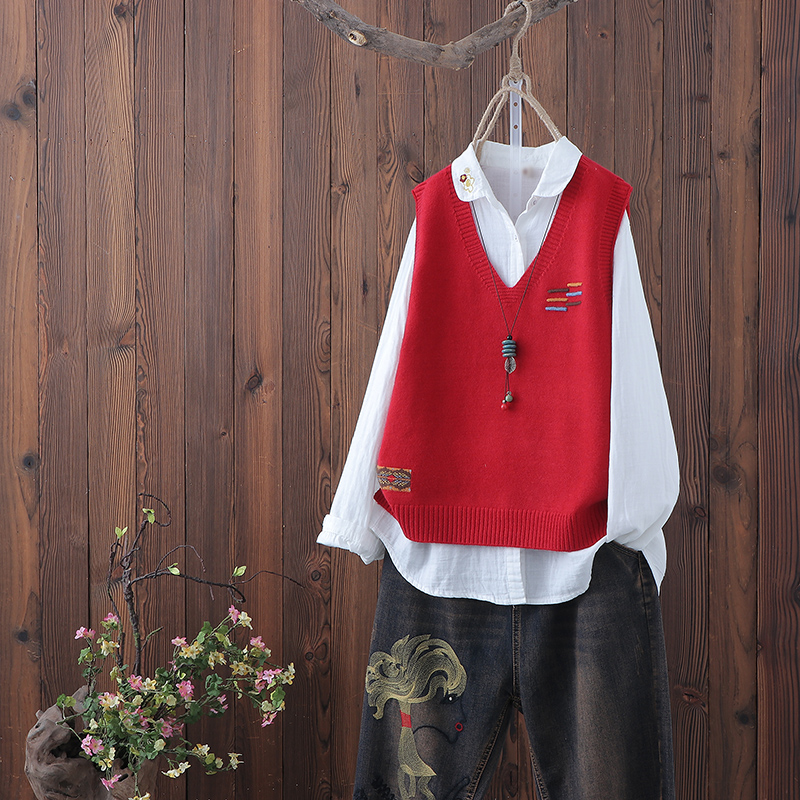 Literature and art knitting V-neck vest women's new spring and autumn product loose fit casual Waistcoat Vest sleeveless waistcoat