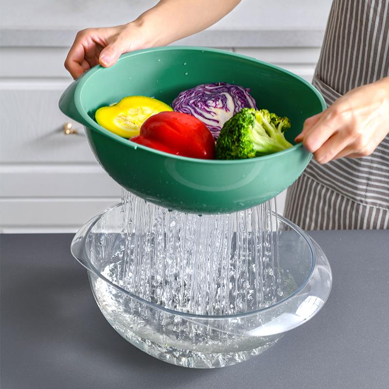 双层塑料沥水篮子厨房洗菜篮创意水果盘客厅果盆果篮收纳筐洗菜盆