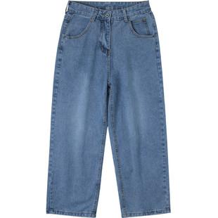 牛仔褲男寬鬆墜感闊腿ins港風直筒男生春季褲子2020新款韓版潮流