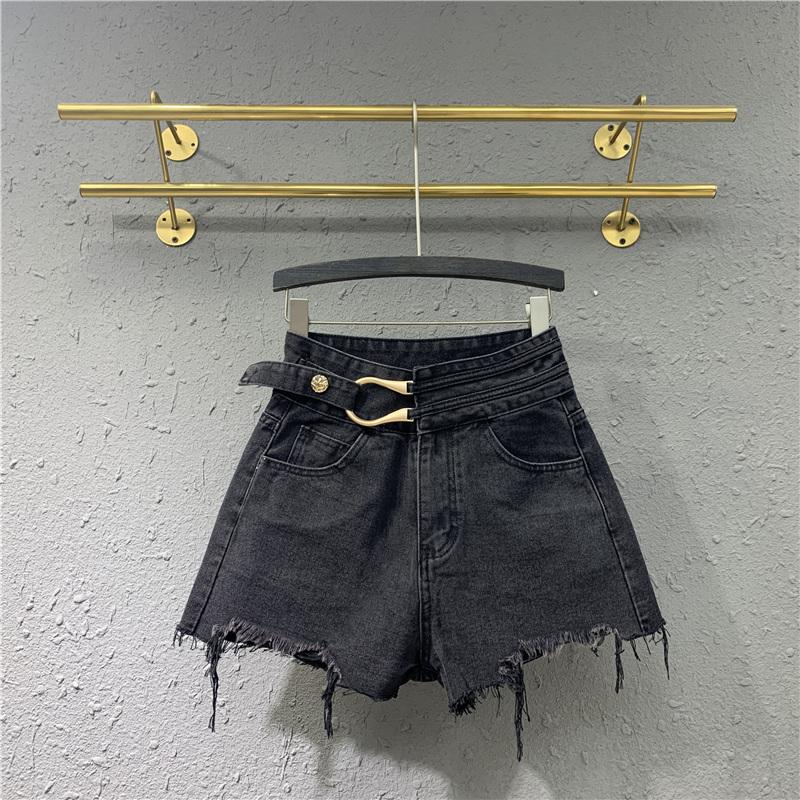 欧洲站牛仔短裤女2021夏装新款高腰显瘦黑色外穿薄款网红爆款短裤