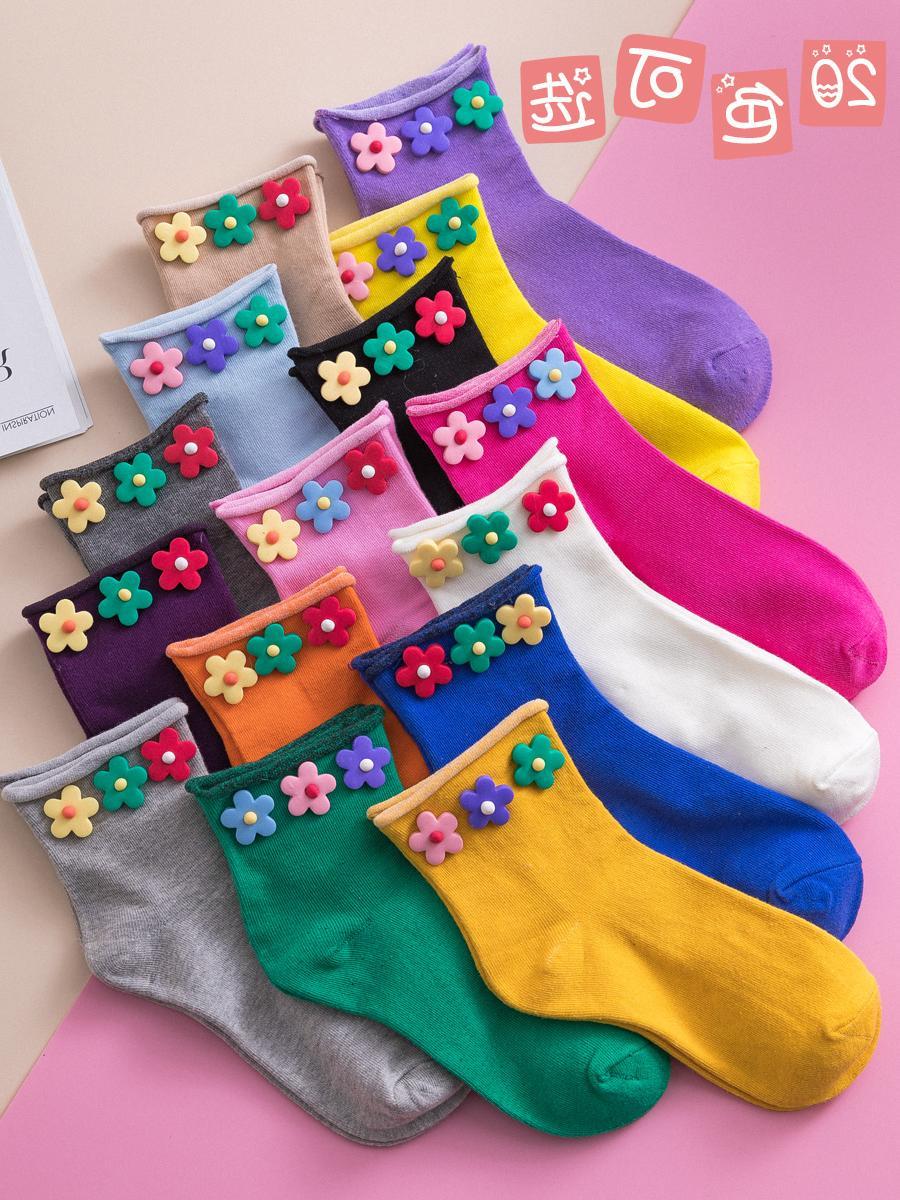 匹克企鹅泫雅风袜子女短袜ins潮夏天韩国可爱夏季薄款堆堆袜小花