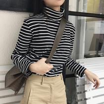 高领条纹t恤女长袖宽松秋冬季韩版上衣纯棉百搭修身加绒打底衫女